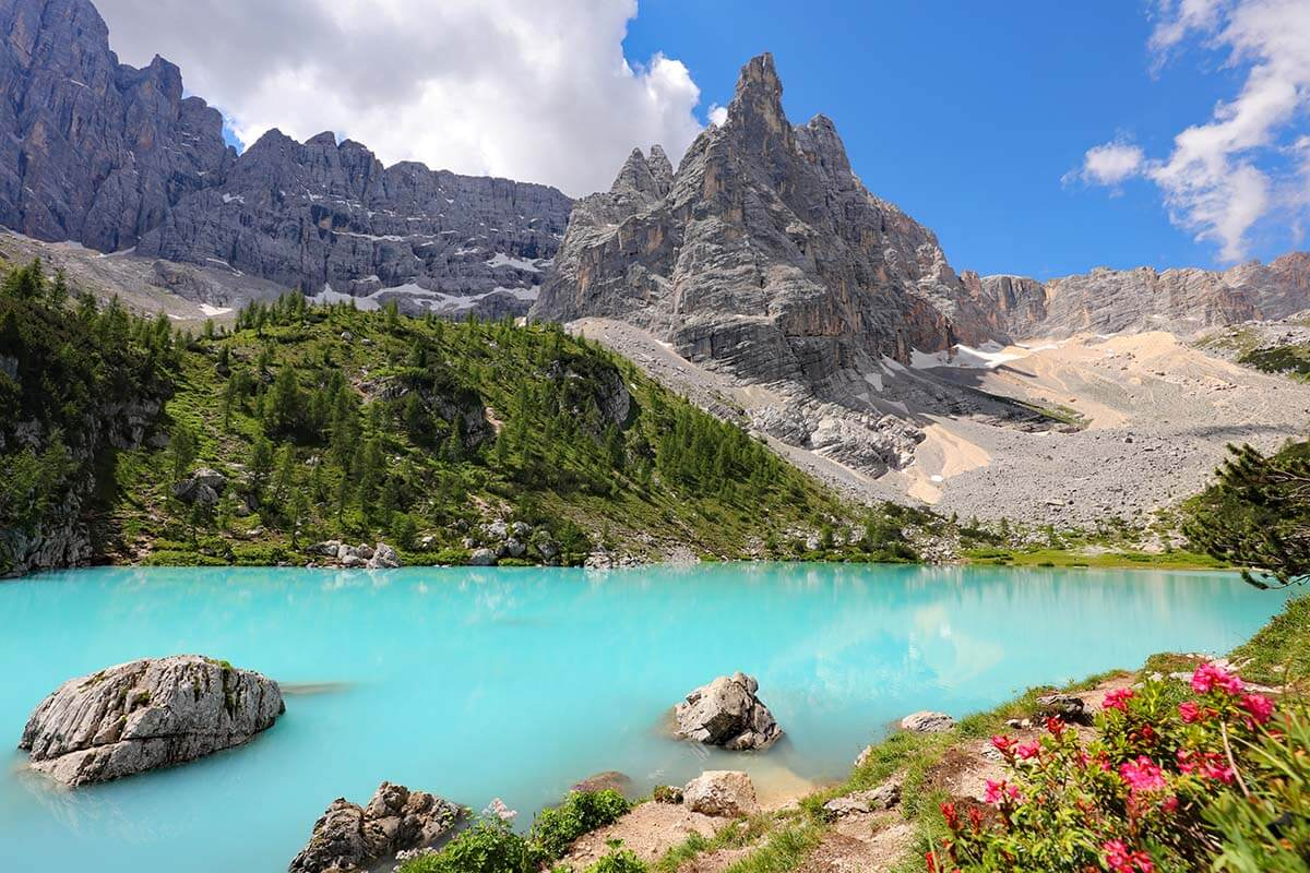 Lago di Sorapis is one of the most beautiful places in the Dolomites Italy