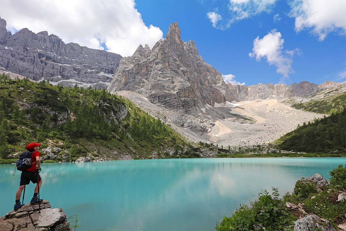 Lago di Sorapis - one of the most beautiful lakes in the Dolomites Italy