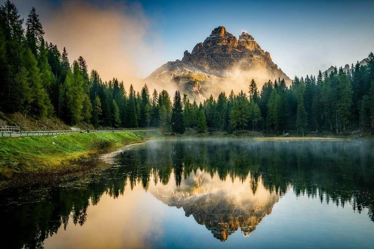 Lake Antorno in the Dolomites Italy