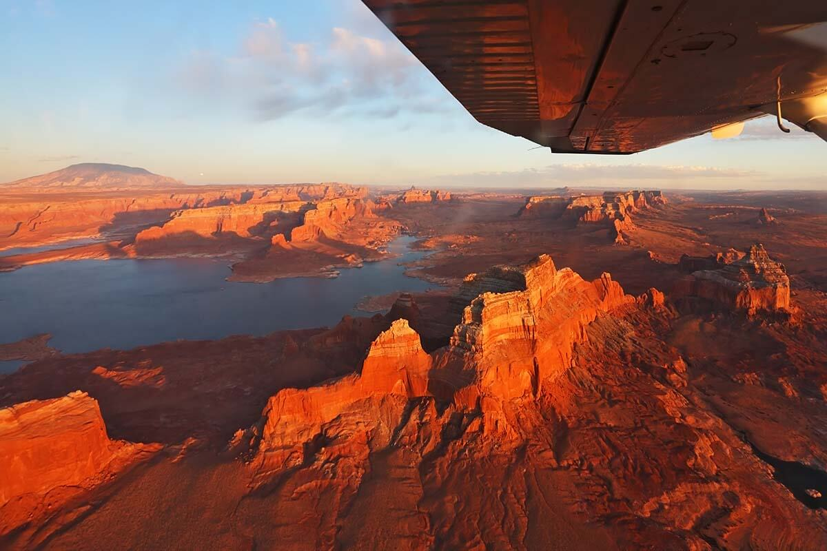Lake Powell aerial view from an airplane
