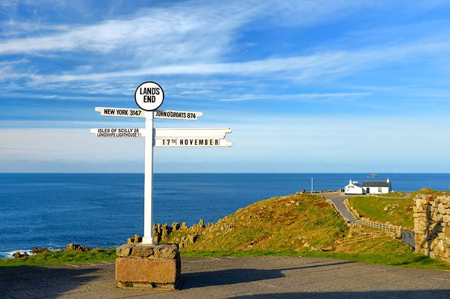 Land's End Sign is one of the popular Cornwall attractions