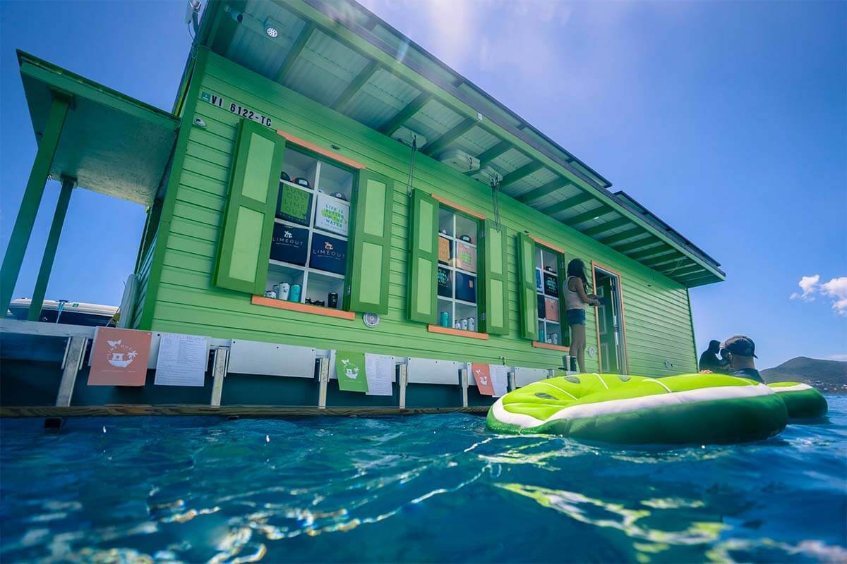 Lime OUT VI floating taco restaurant in Coral Bay on St John USVI