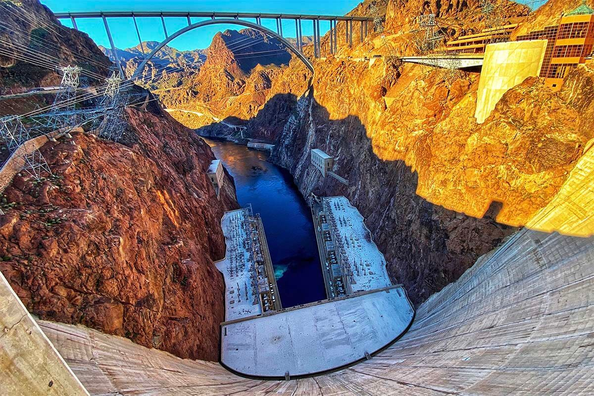 Looking down the face of the Hoover Dam