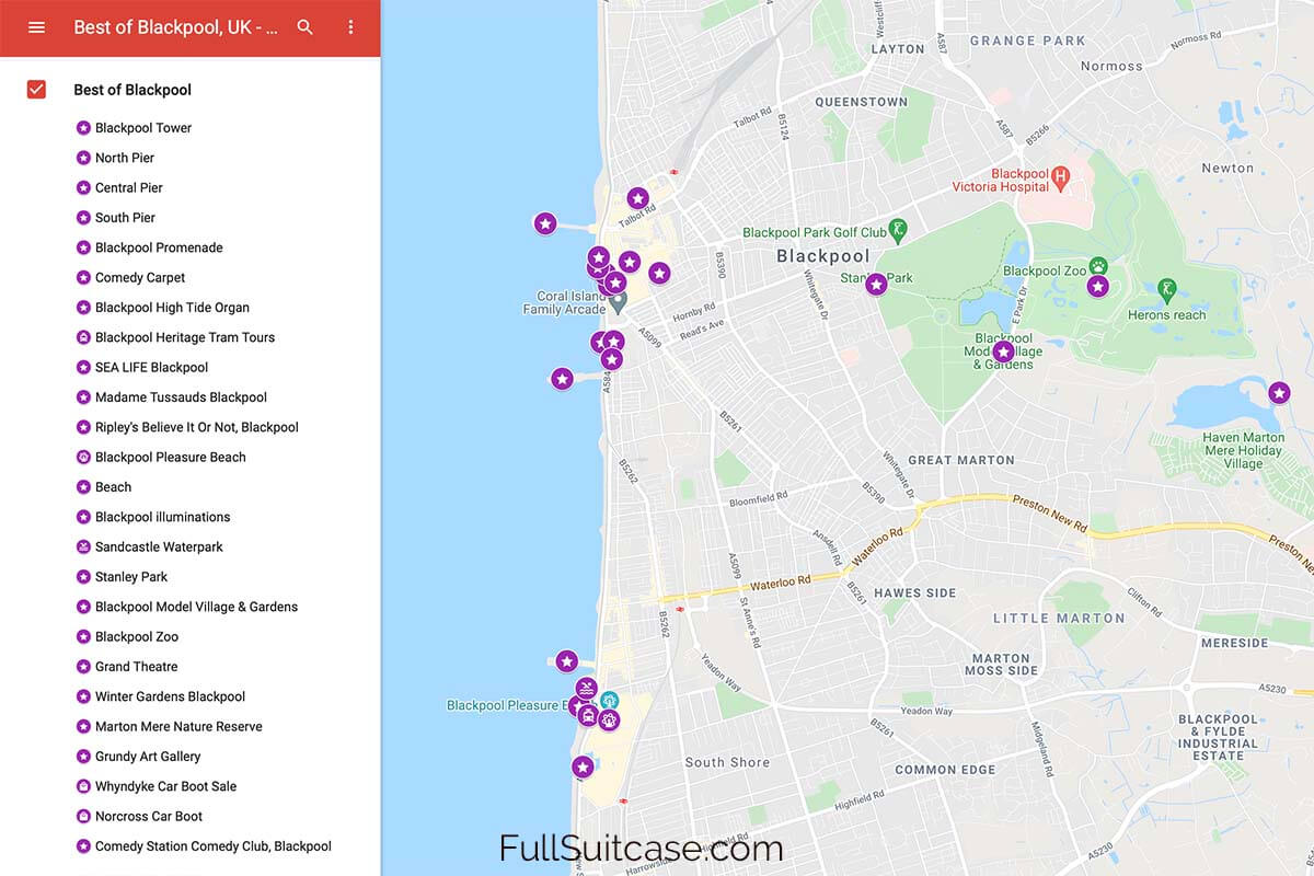 Map of the best places to see and things to do in Blackpool UK
