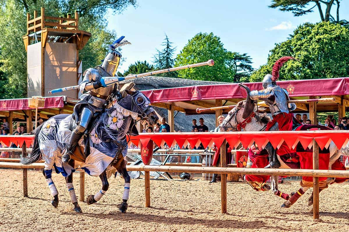 Medieval knights jousting at Warwick Castle