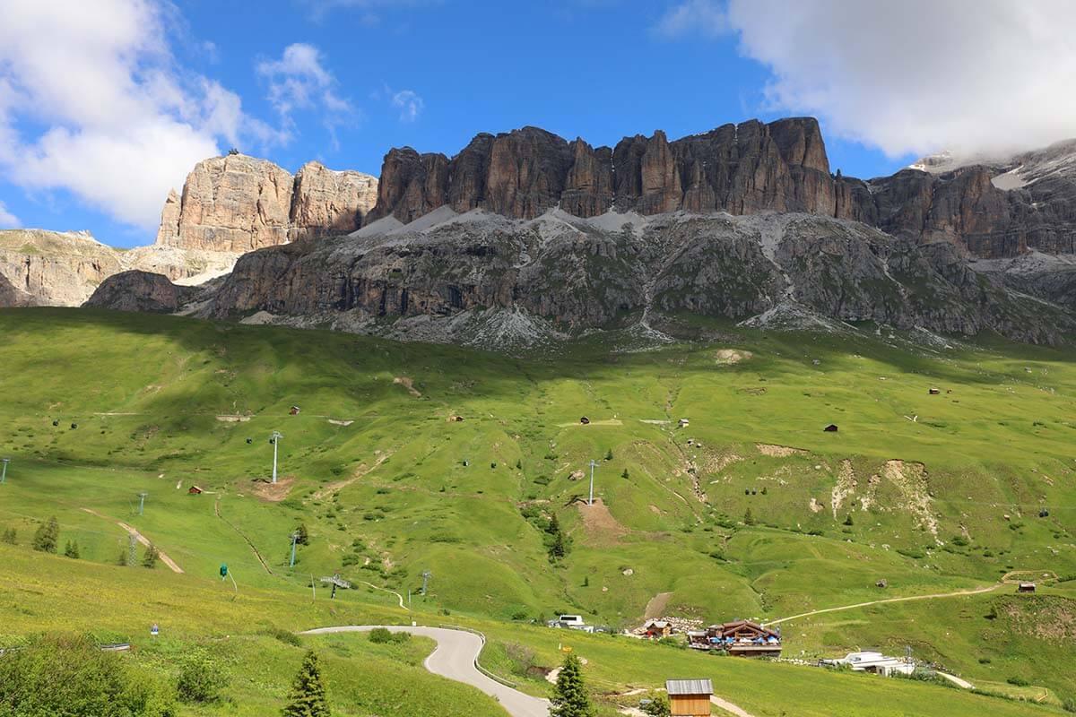 Mountain scenery at Passo Pordoi in the Dolomites Italy
