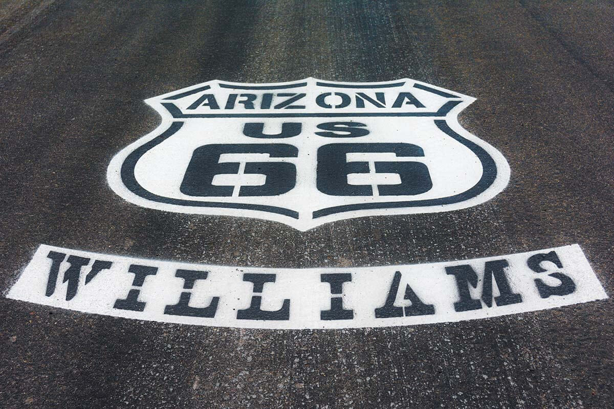 Route 66 sign on the road in Williams Arizona