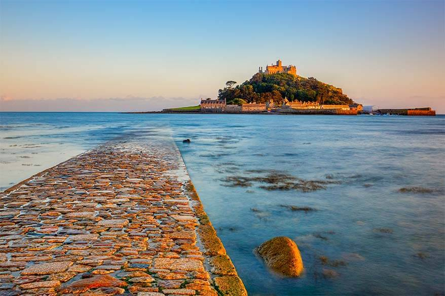 Saint Michael's Mount pathway from Marazion in Cornwall