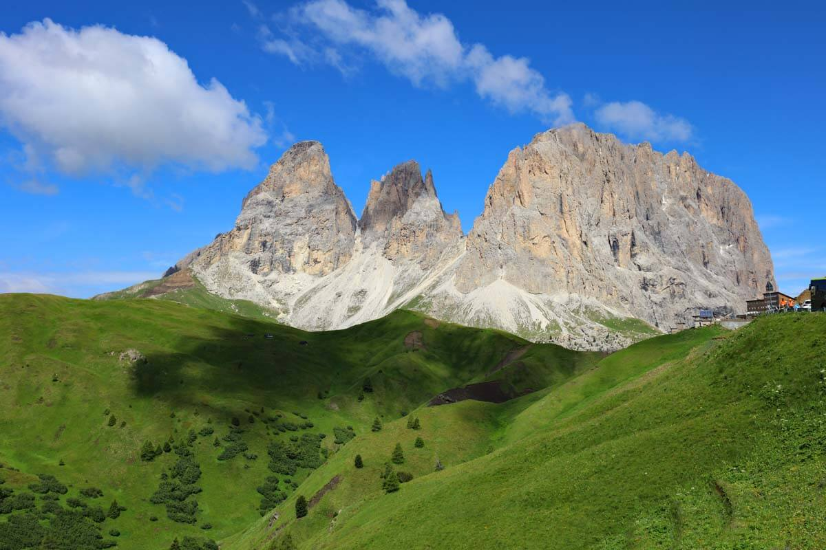 Sassolungo (Langkofel) mountain as seen from Sella Pass in the Dolomites Italy