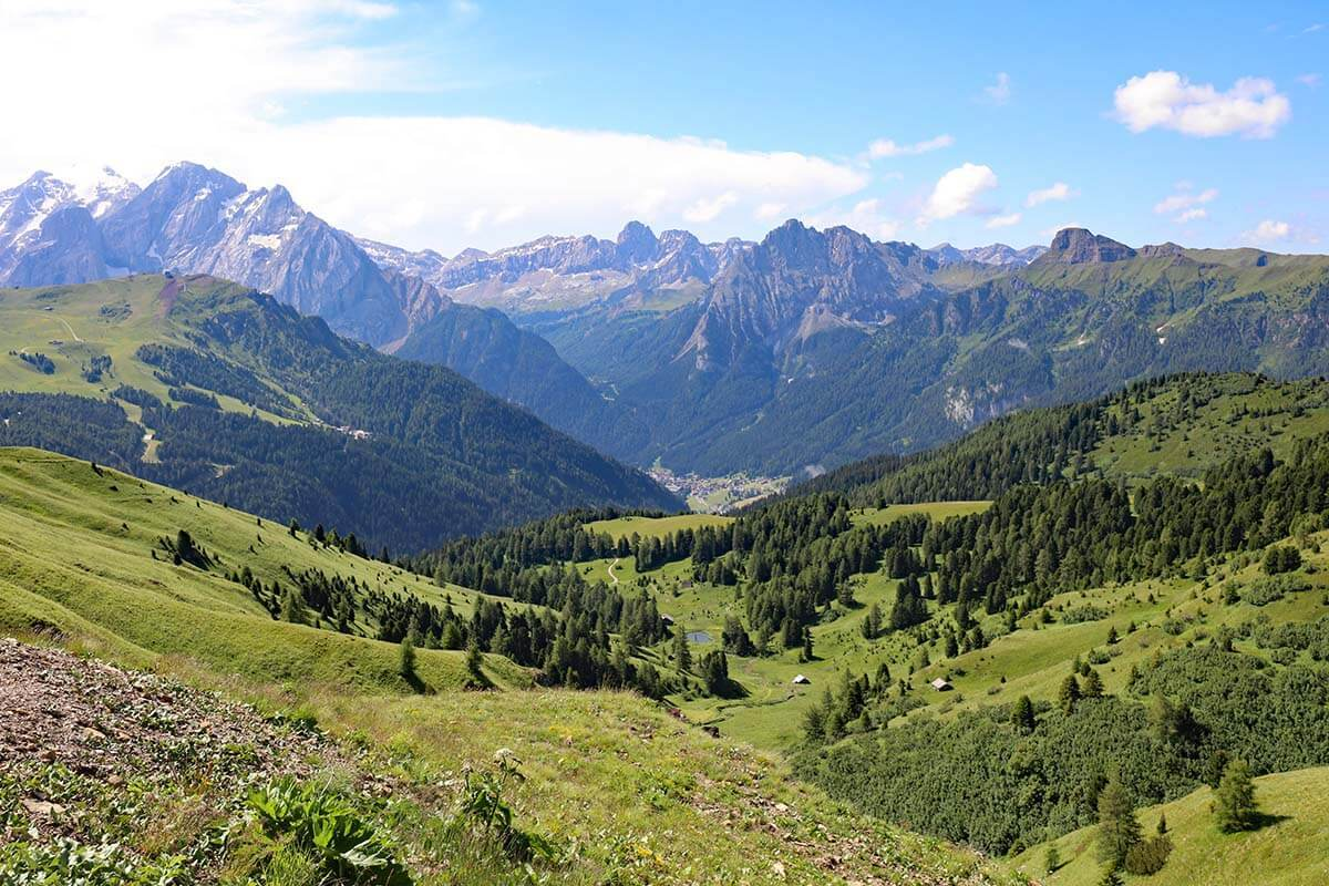 Scenery at Passo Sella in the Dolomites Italy