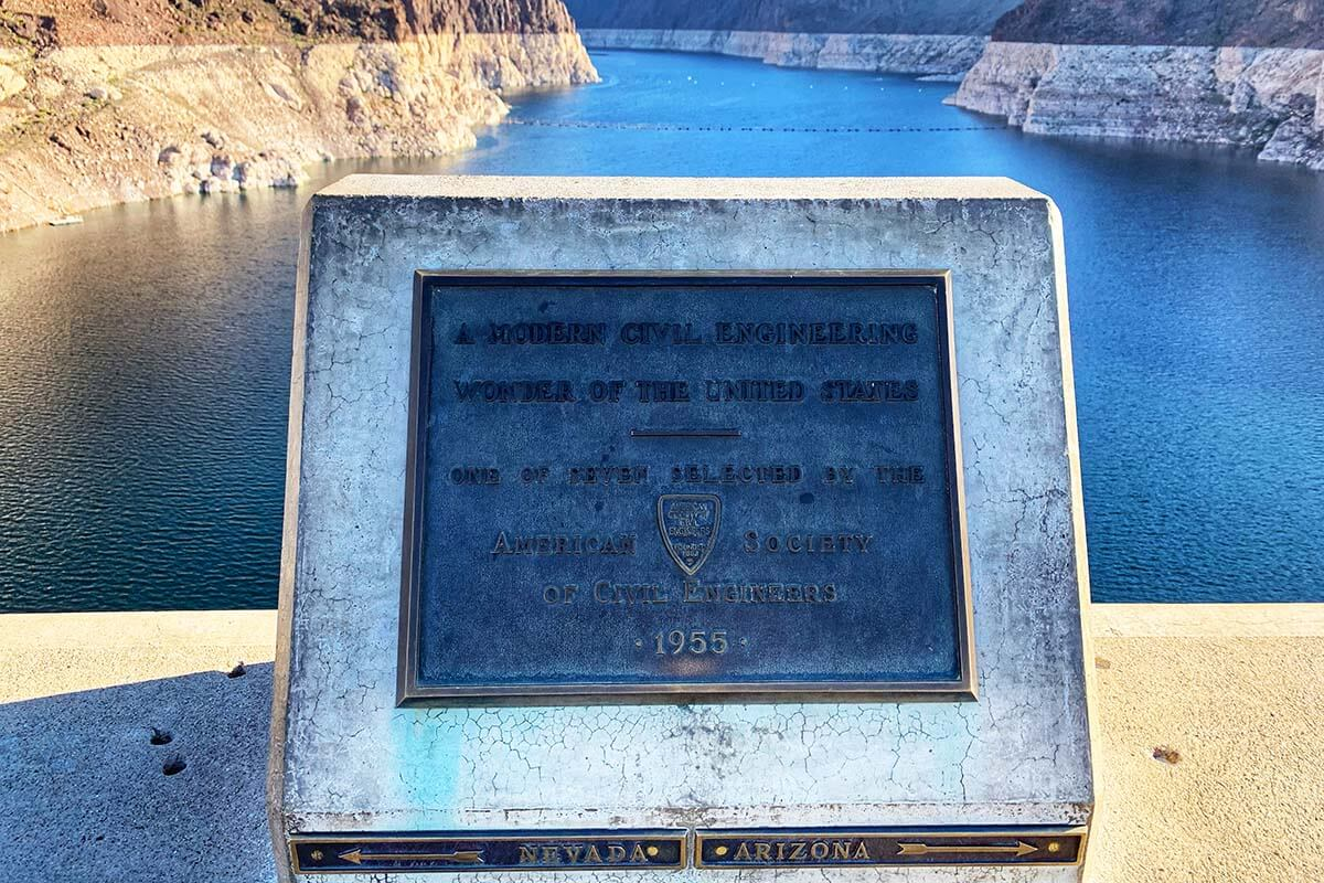 Two states sign - Nevada and Arizona - at Hoover Dam