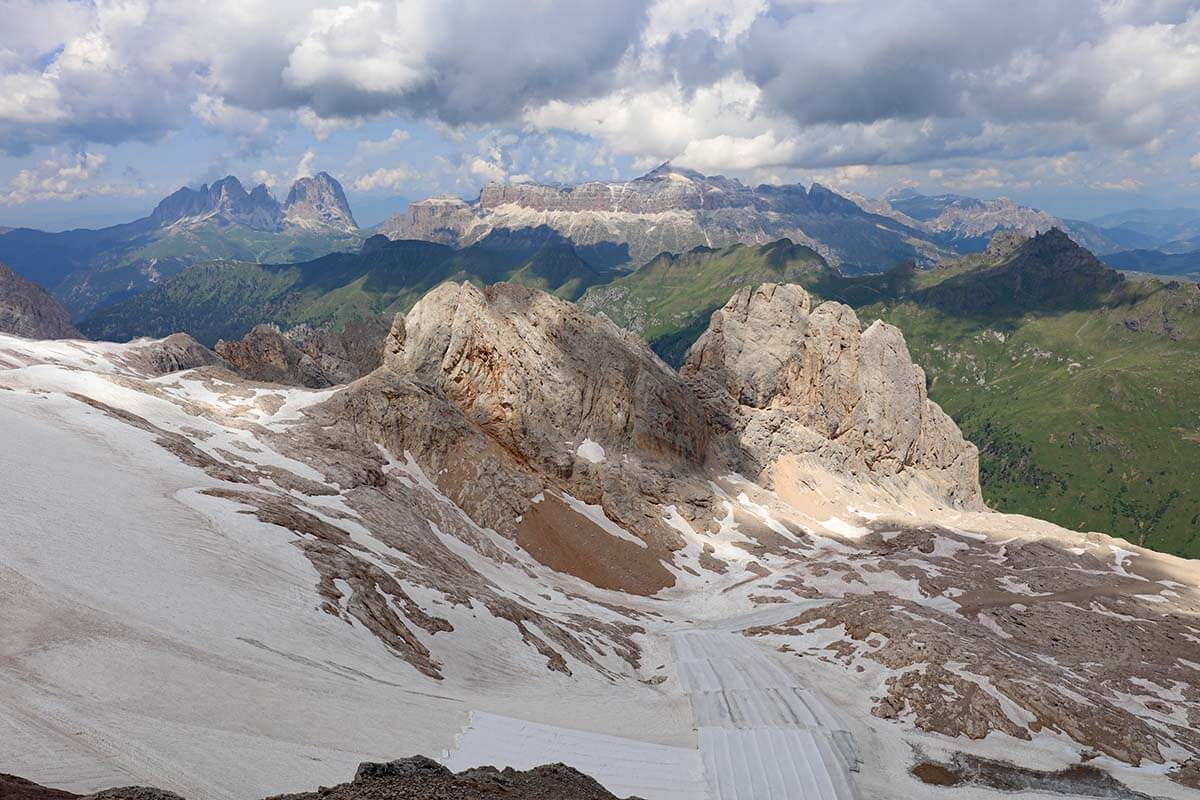 View from Marmolada - the highest mountain in the Dolomites Italy