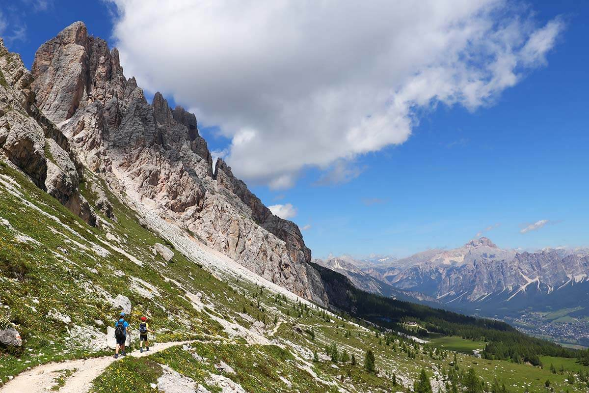 Views at Forcella Ambrizola near Lago di Federa, Dolomites Italy