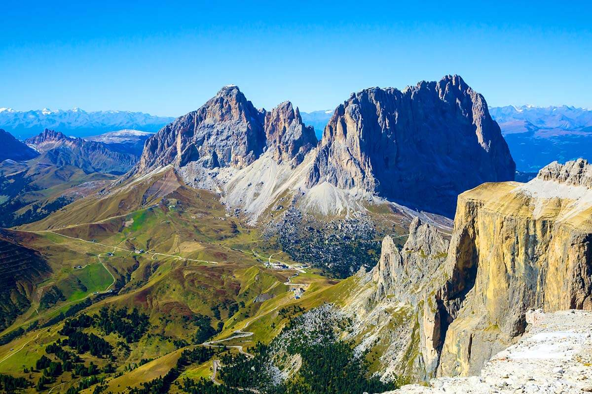 Views from Forcella Pordoi in the Dolomites Italy