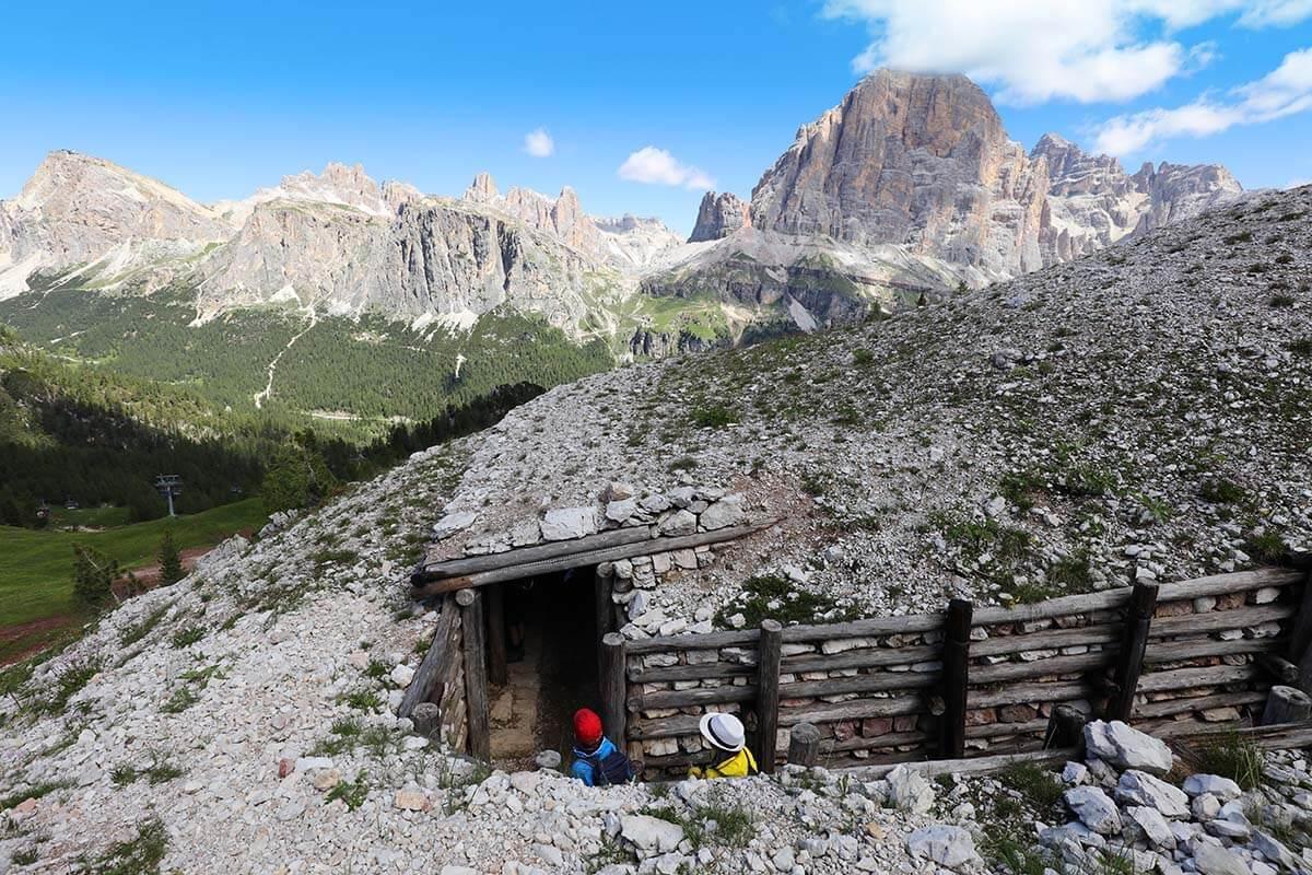 WWI museum at Cinque Torri in the Dolomites Italy