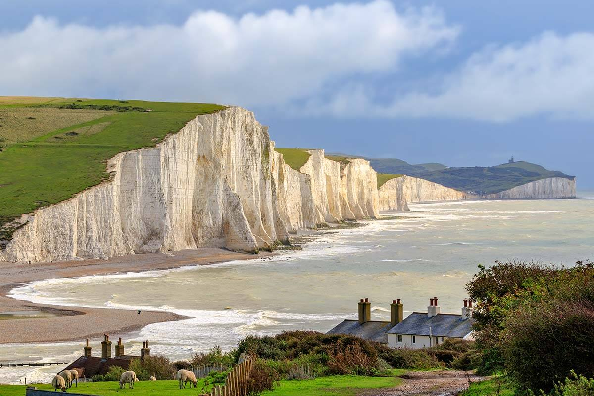 White cliffs of Seven Sisters in southern England