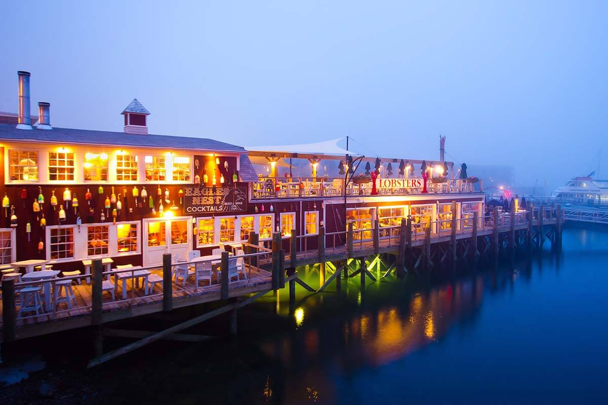 Bar Harbor pier and restaurants in the evening
