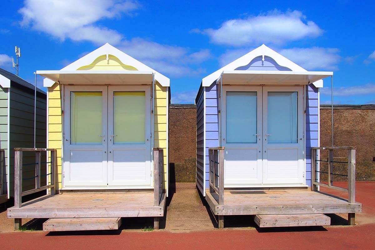 Beach Huts in Lytham St Annes near Blackpool UK
