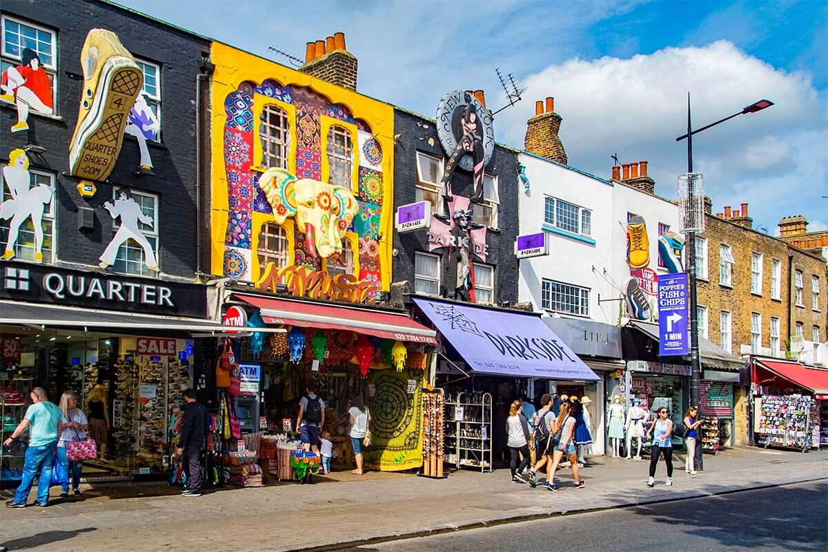 Colorful shops on Camden High Street in London