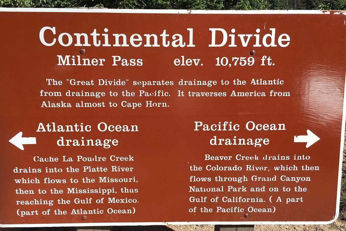 Continental Divide sign at Milner Pass in Rocky Mountain National Park Colorado