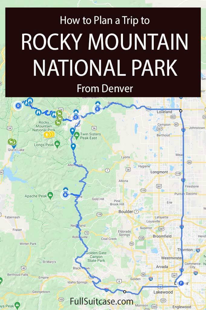 Denver to Rocky Mountain National Park drive map