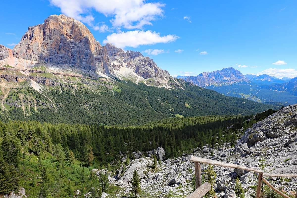 Dolomites mountain scenery at Cinque Torri