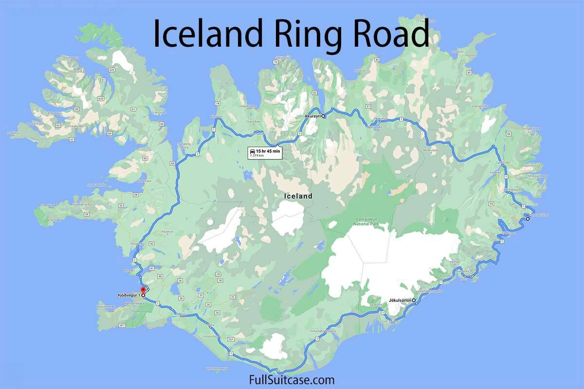 Driving map of Iceland's Ring Road