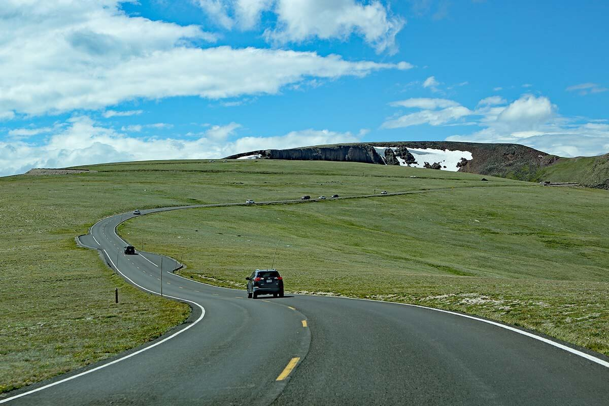 Driving on Trail Ridge Road in summer