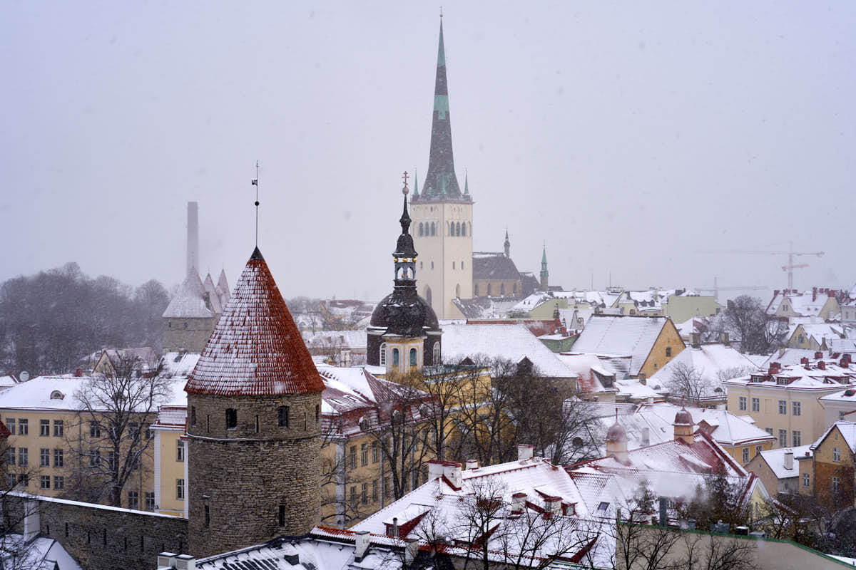 View of Tallinn from Toompea Hill in winter