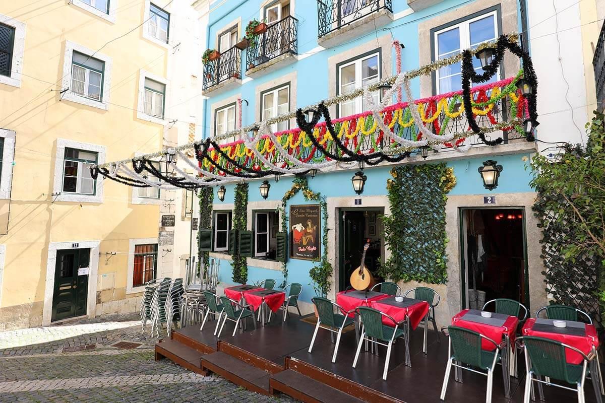 Fado restaurant in Alfama Lisbon