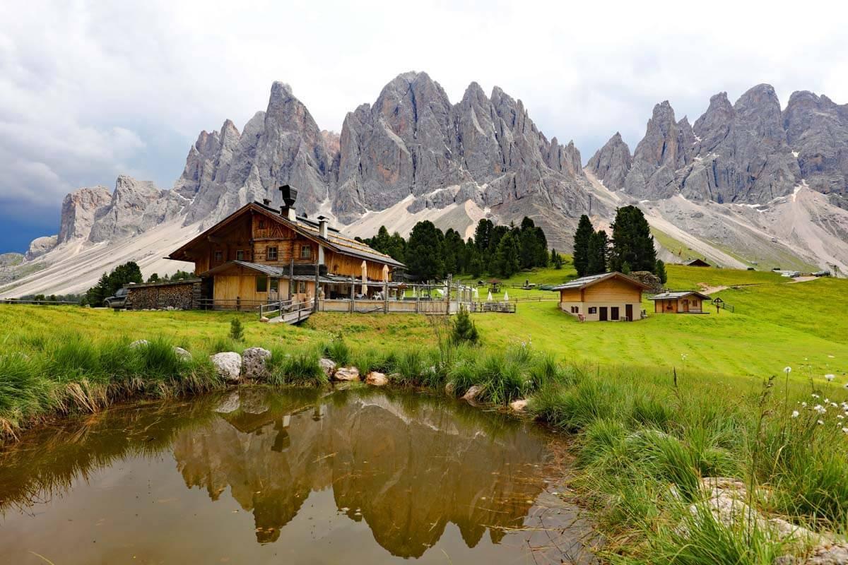 Geisler Alm in Val di Funes in the Dolomites Italy