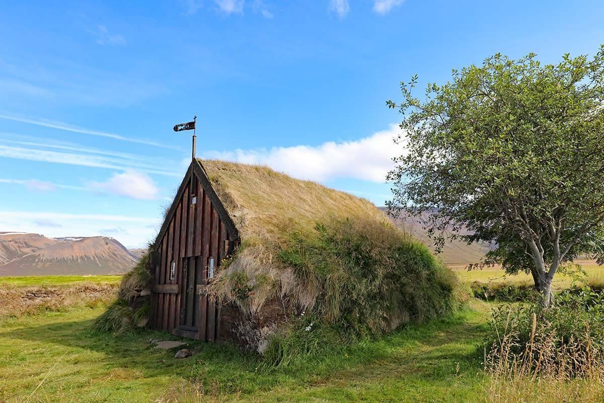Grafarkirkja turf church in north Iceland
