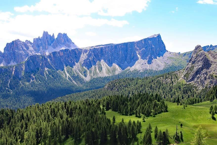 Hiking Dolomites - scenery from Cinque Torri loop hike