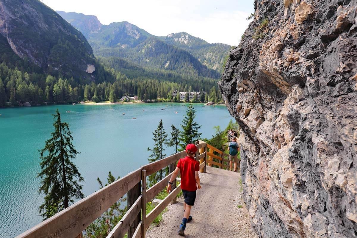 Hiking around Lago di Braies in the Dolomites Italy