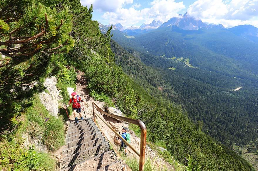Hiking in the Dolomites - steep climb to Lake Sorapis