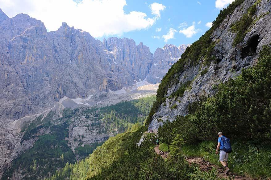 Hiking in the Italian Dolomites - scenery along the Lake Sorapis hike