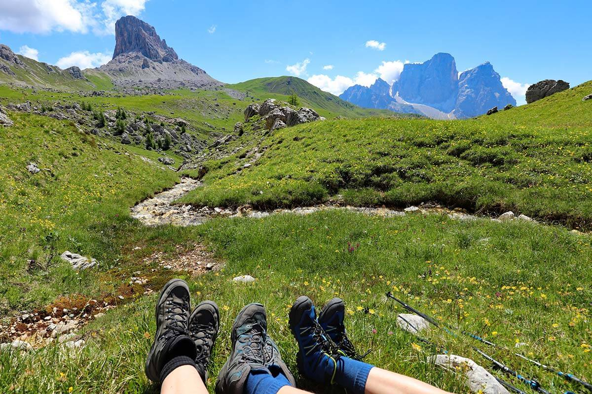 Hiking shoes with Dolomites mountains background