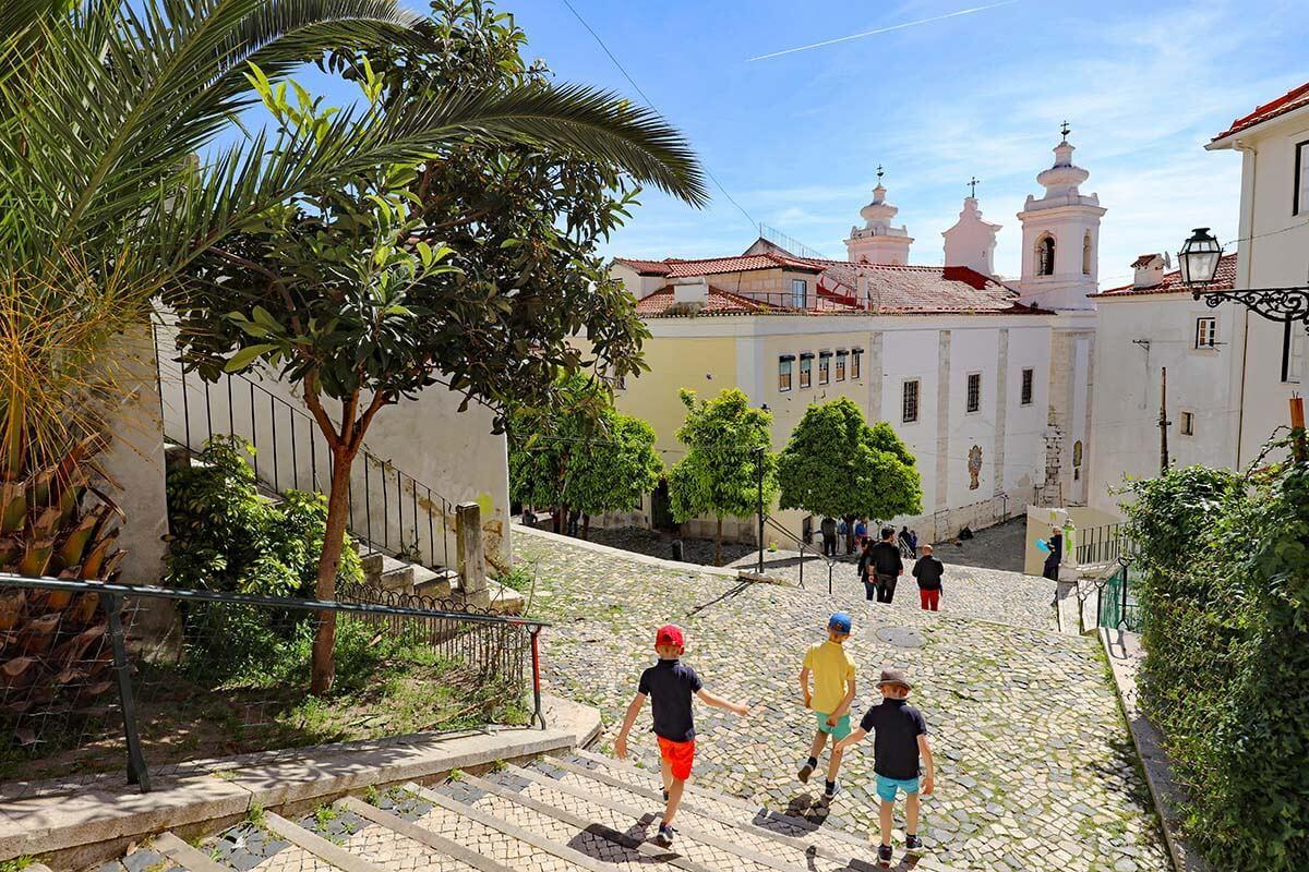 Historic Alfama neighborhood in Lisbon Portugal