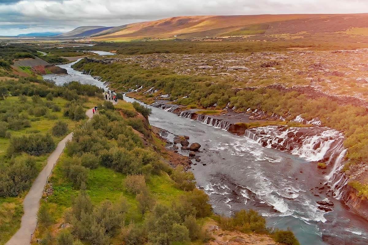 Hraunfossar waterfalls in west Iceland