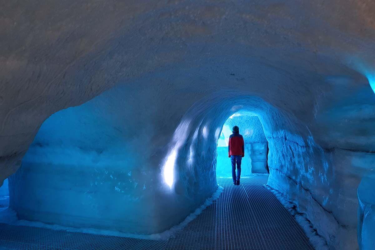 Ice tunnel in Perlan museum in Reykjavik Iceland