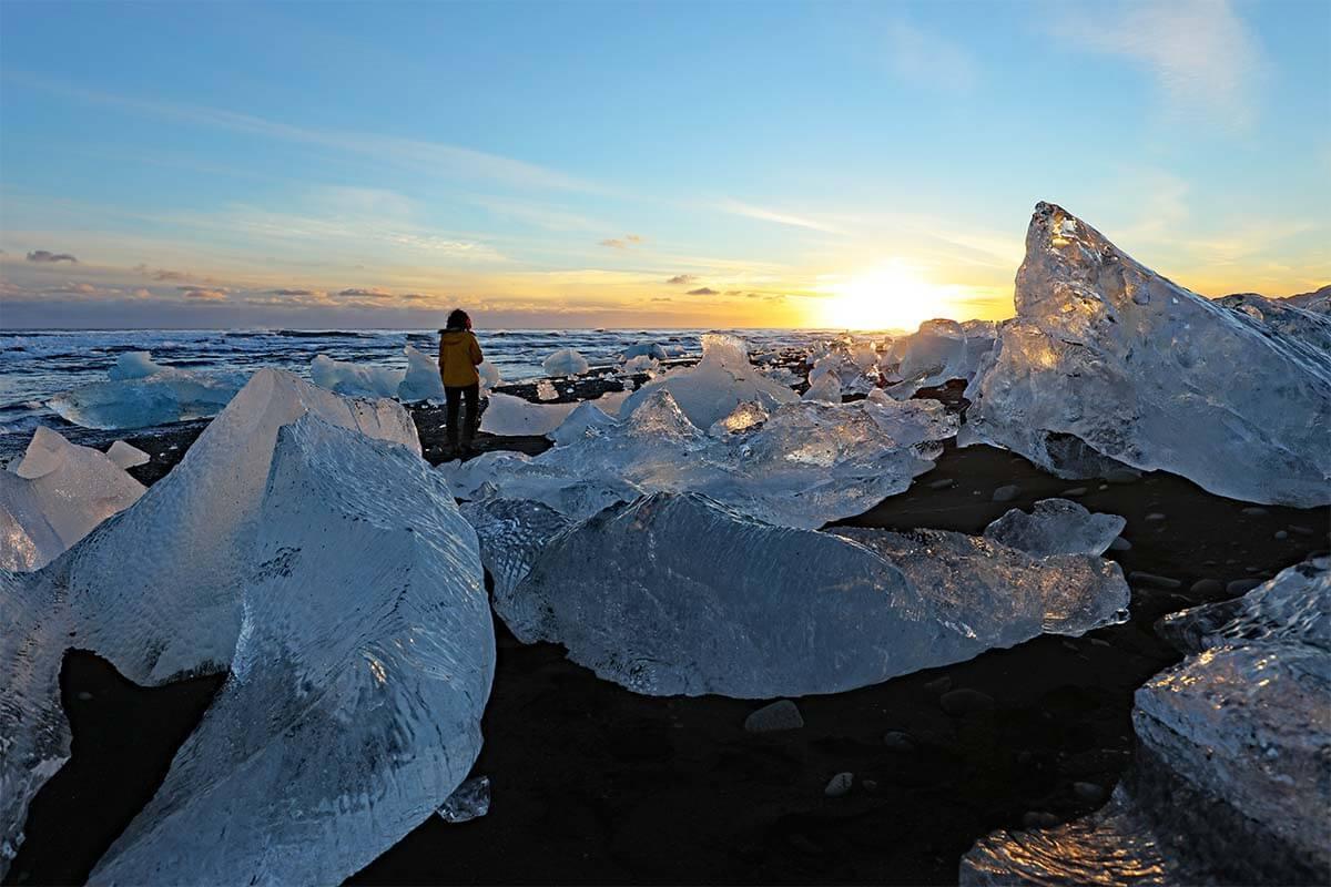 Icebergs on the Diamond Beach in Iceland