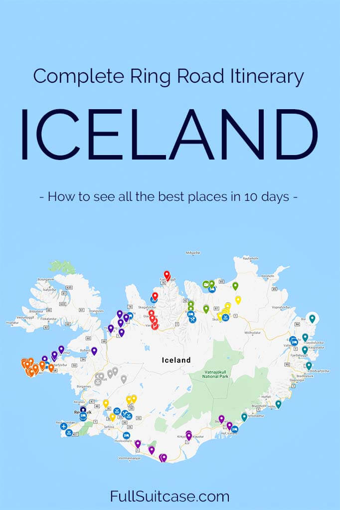 Iceland Ring Road attractions map and travel itinerary