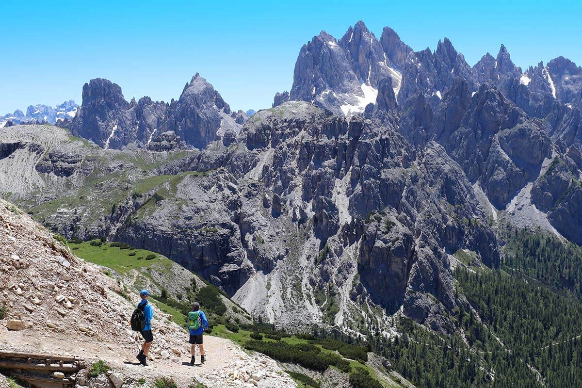 Kids hiking at Tre Cime in the Dolomites Italy