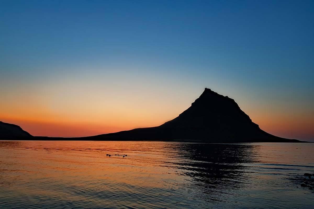 Kirkjufell mountain at sunset, Snaefellsnes Peninsula, Iceland