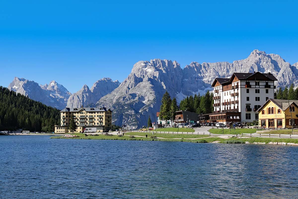 Lake Misurina in the Dolomites Italy