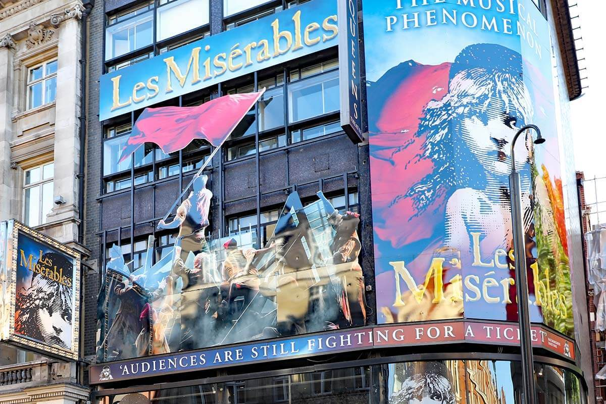 Les Miserables musical billboards in London