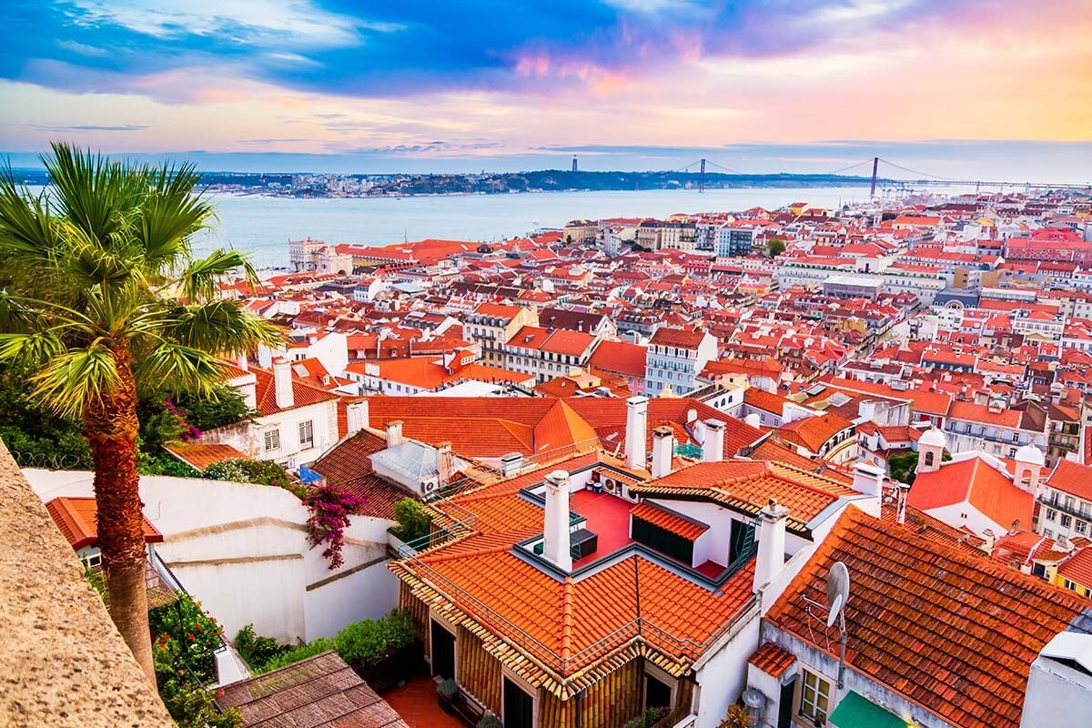 Lisbon cityscape view from St George Castle
