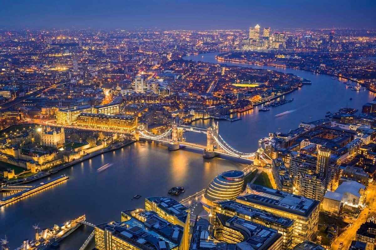 London at night views from the Shard