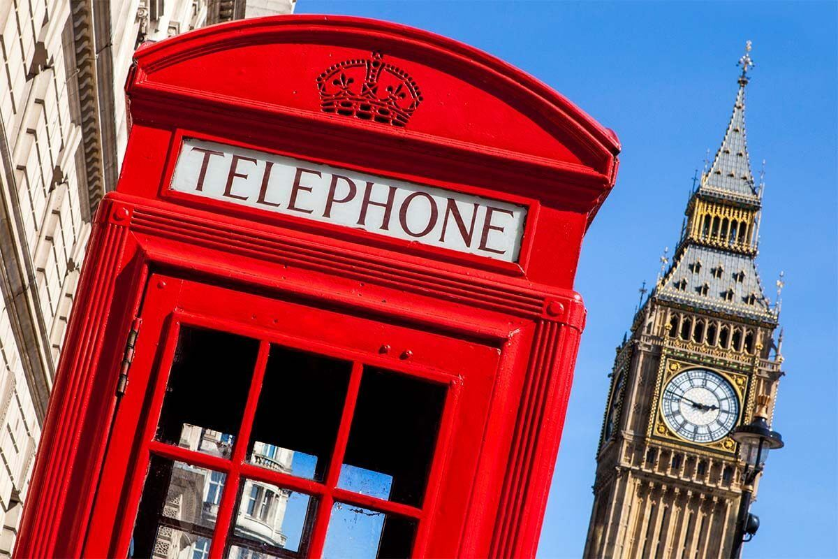 Big Ben tower and red telephone box in London