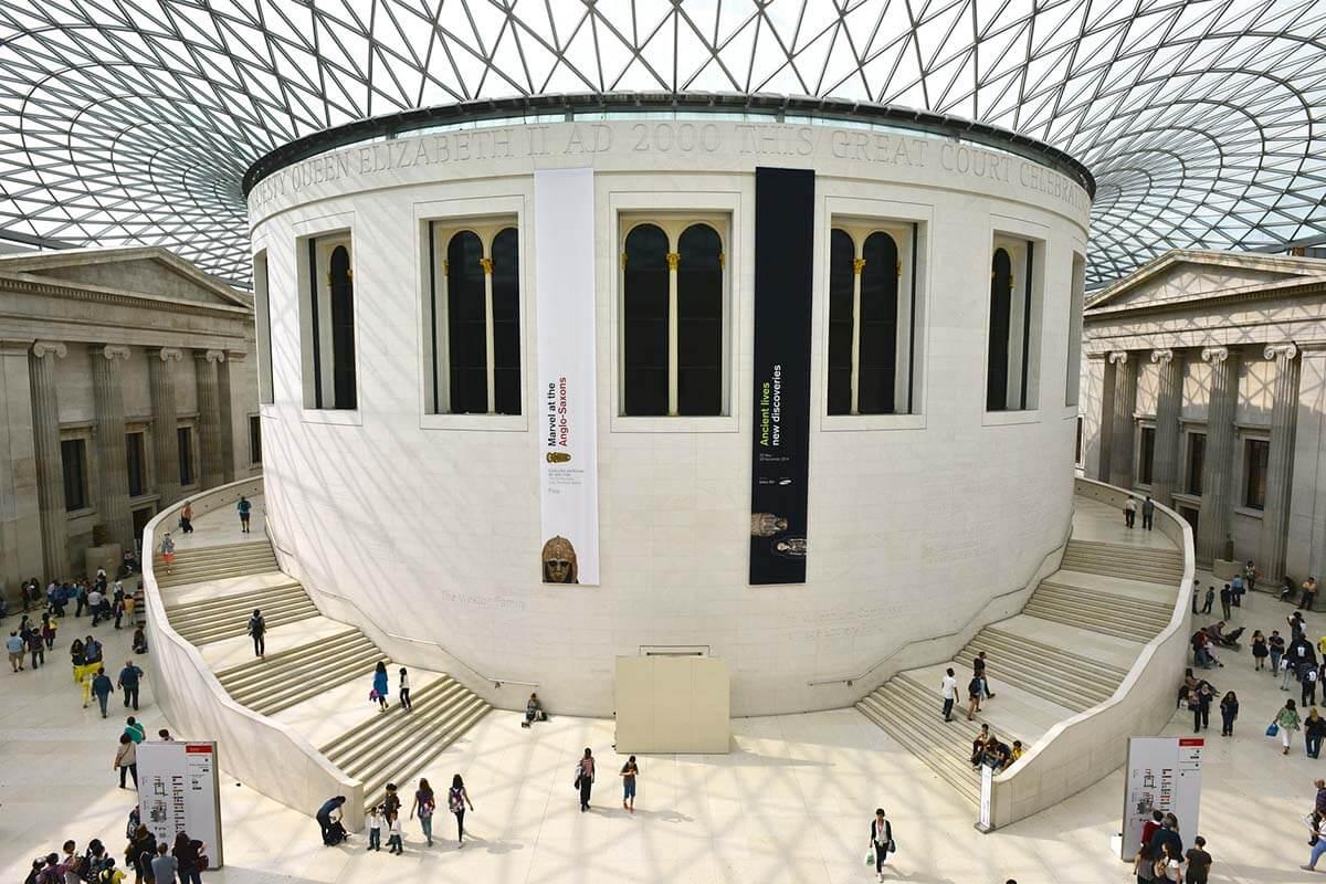 Modern interior of the British Museum in London